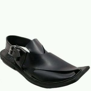 Black Color Peshawari Chappal - Suede Leather