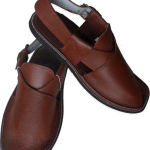 Dark Brown Leather Hand Made Peshawari Chappal for Men