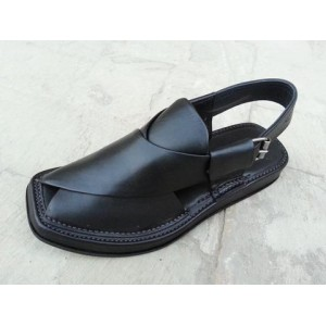 Black Leather Pure Handmade Peshawari Chappal