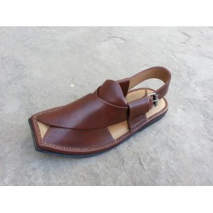 Brown Leather Pure Handmade Peshawari Chappal