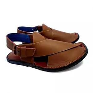 Brown Color Round Shape Pure Leather Peshawri Chappal