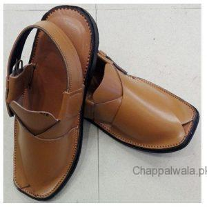 Light Brown Color Leather Peshawri Chappal Online